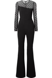 Rachel Zoe - Amber crepe and Swiss-dot tulle jumpsuit at Net A Porter