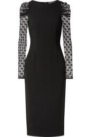 Rachel Zoe - Harper crepe and Swiss-dot tulle midi dress at Net A Porter