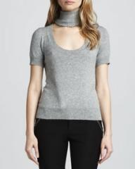 Rachel Zoe Reversible Deedee Cutout-Turtleneck Sweater Gray at Neiman Marcus