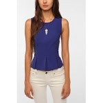 Rachels blue peplum top at Urban Outfitters at Urban Outfitters