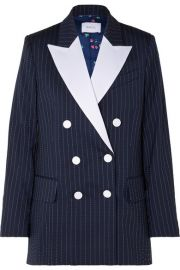 Racil - Casablanca double-breasted satin-trimmed striped wool-blend crepe blazer at Net A Porter