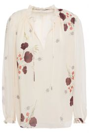 Rafaella ruffle-trimmed floral-print silk-georgette blouse at The Outnet