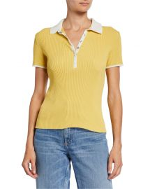Rag  amp  Bone Libby Short-Sleeve Ribbed Polo Shirt at Neiman Marcus