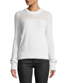 Rag  amp  Bone Yorke Cashmere Crewneck Sweater with Mesh Details at Neiman Marcus