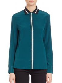 Rag   Bone - Nico Silk Blouse teal at Saks Off 5th
