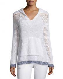 Rag   Bone Thea Mesh Hooded Sweatshirt  White at Neiman Marcus