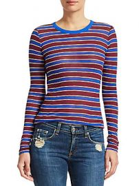 Rag  amp  Bone - Avery Striped Cashmere-Blend Shirt at Saks Off 5th