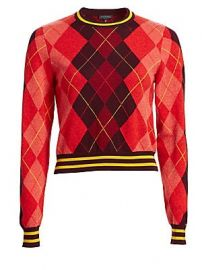 Rag  amp  Bone - Dex Wool Argyle Cropped Sweater at Saks Fifth Avenue