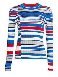 Rag  amp  Bone - Mason Mixed Stripes Knit Sweater at Saks Fifth Avenue