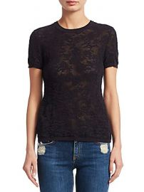 Rag  amp  Bone - Perry Floral Jacquard Short-Sleeve Tee at Saks Off 5th