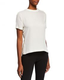 Rag  amp  Bone Aiden Side-Split Crewneck Tee w  Buttons at Neiman Marcus