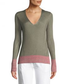 Rag  amp  Bone Alyssa V-Neck Long-Sleeve Ribbed Sweater w  Contrast at Neiman Marcus