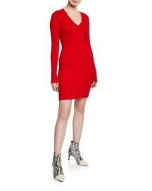 Rag  amp  Bone Brea Ribbed V-Neck Mini Sweater Dress at Neiman Marcus