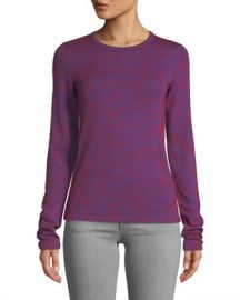 Rag  amp  Bone Crewneck Long-Sleeve Slim Patterned Jersey Tee at Neiman Marcus