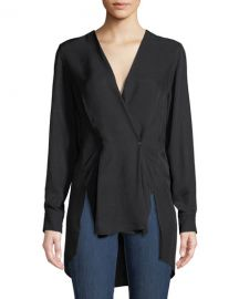 Rag  amp  Bone Debbie Draped V-Neck High-Low Top at Neiman Marcus