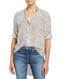 Rag  amp  Bone Dirdre Dotted Button-Front Long-Sleeve Blouse at Neiman Marcus