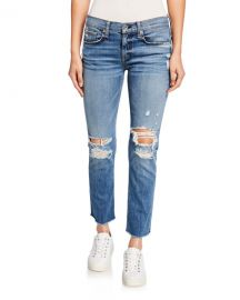 Rag  amp  Bone Dre Low-Rise Ankle Slim Boyfriend Jeans with Ripped Knees at Neiman Marcus