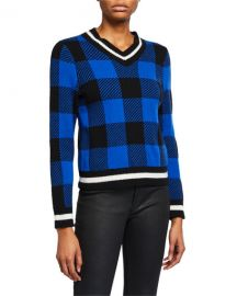 Rag  amp  Bone Gabby Plaid V-Neck Sweater at Neiman Marcus
