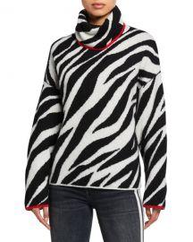 Rag  amp  Bone Kiki Funnel-Neck Zebra Sweater at Neiman Marcus