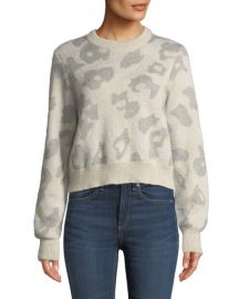 Rag  amp  Bone Leopard-Print Mohair-Blend Crewneck Sweater at Neiman Marcus