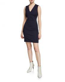 Rag  amp  Bone Lexi Striped V-Neck Sleeveless Dress at Neiman Marcus