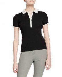 Rag  amp  Bone Libby Short-Sleeve Ribbed Polo Shirt at Neiman Marcus