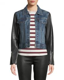 Rag  amp  Bone Nico Zip-Front Denim Jacket with Leather Sleeves at Neiman Marcus