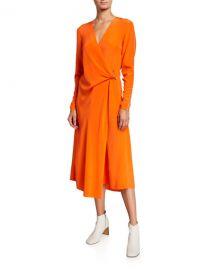 Rag  amp  Bone Odette Long-Sleeve Silk Wrap Dress at Neiman Marcus
