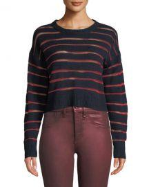 Rag  amp  Bone Penn Cropped Sweater with Sheer Stripe Detail at Neiman Marcus