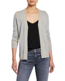 Rag  amp  Bone Shannon Button-Front Extra Fine Merino Wool Cardigan at Neiman Marcus