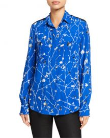 Rag  amp  Bone Therese Printed Viscose Button-Down Blouse at Neiman Marcus