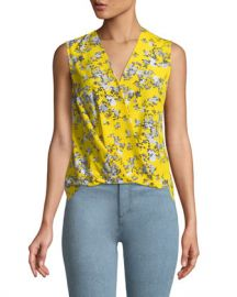 Rag  amp  Bone Victor Sleeveless Wrap-Front Garden Floral-Print Silk Blouse at Neiman Marcus