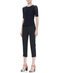 Rag and Bone Basha Short-Sleeve Top and Cropped Cuffed Pants at Neiman Marcus
