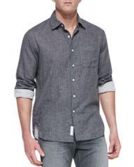 Rag and Bone Button-Down Beach Shirt Charcoal at Neiman Marcus