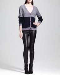 Rag and Bone Claire Colorblock Wool-Alpaca Cardigan and The Skinny Leather Jeans Black at Neiman Marcus