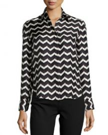 Rag and Bone Faye Chevron-Print Silk Skirt at Neiman Marcus