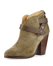 Rag and Bone Harrow Nubuck Ankle Boot Stonewall Green at Neiman Marcus