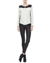Rag and Bone Romane Bicolor Silk Shirt and Glasgow Paneled Leather Leggings at Neiman Marcus