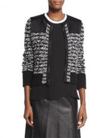 Rag and Bone Viola Cotton-Blend Sweater Jacket Black at Neiman Marcus