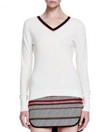 Rag and Bone Vivian Contrast V-Neck Sweater at Neiman Marcus