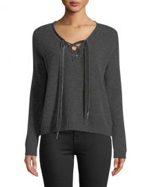 Rails Amelia Lace-Up Wool Long-Sleeve Sweater at Neiman Marcus