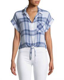 Rails Amelie Plaid Linen Button-Down Top at Neiman Marcus