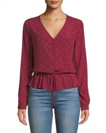 Rails Beaux Dot-Print Button-Front Peplum Top at Neiman Marcus