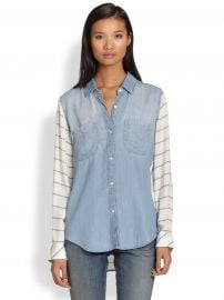 Rails Harper Contrast-Paneled Denim Shirt at Saks Fifth Avenue