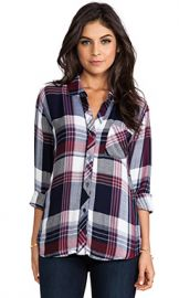 Rails Hunter Button Down in Wine and White at Revolve