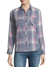 Rails Hunter Button-Front Long-Sleeve Plaid Shirt  Storm Pink Cloud Wash at Neiman Marcus