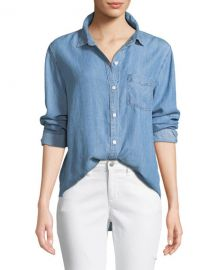 Rails Ingrid Raw-Edge Button-Front Shirt at Neiman Marcus