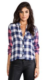 Rails Jackie Mixed Button Down in White Body and Pink Sleeves  REVOLVE at Revolve