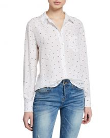Rails Kate Heart-Print Button-Down Blouse at Neiman Marcus