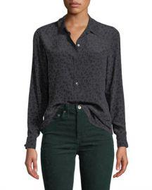 Rails Kate Leopard-Print Silk Button-Down Top at Neiman Marcus